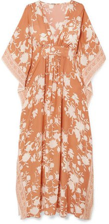 Opulent Simplicity Floral-print Silk Crepe De Chine Gown - Blush