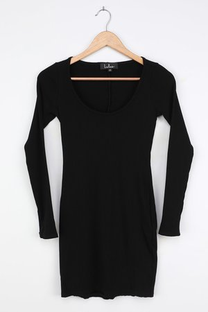 Basic Bodycon Dress - Long Sleeve Bodycon - Black Ribbed Bodycon - Lulus