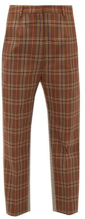 Contrast Check Twill Trousers - Womens - Brown