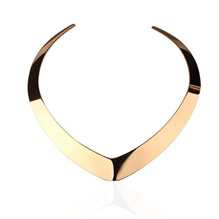 Amazon.com: Carfeny Gold Choker Necklace Statement Jewelry Stainless Steel Classic Heart Shaped End Open Adjustable Vintage Torque Necklaces for Women (Gold): Jewelry