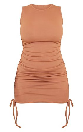 Shape Camel Rib Ruched Sleeveless Bodycon Dress   PrettyLittleThing USA