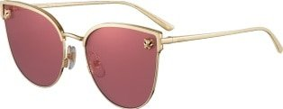 CRESW00453 - Panthère de Cartier sunglasses - Smooth and brushed golden-finish metal, pink lenses with pink flash - Cartier