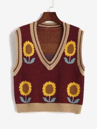 [32% OFF] 2020 Plunge Sunflower Graphic Knit Sweater Vest In FIREBRICK | ZAFUL