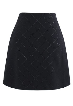 Flickering Diamond Shape Bud Skirt in Black - Retro, Indie and Unique Fashion