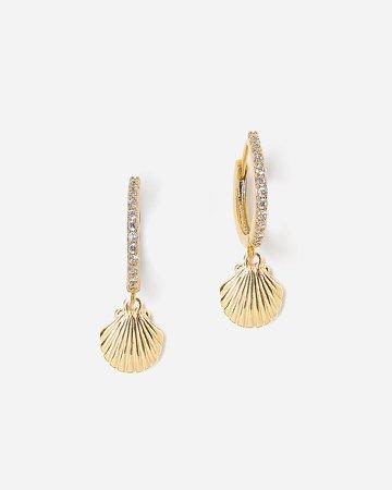 Tess + Tricia Large Shell Huggie Hoop Earrings