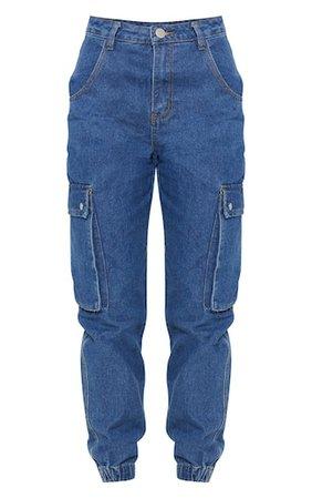Mid Wash Cargo Pocket Jean | Denim | PrettyLittleThing
