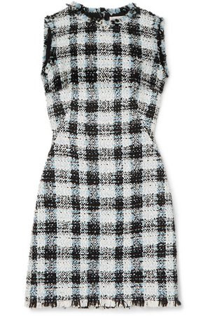 Alexander McQueen | Checked bouclé-tweed mini dress | NET-A-PORTER.COM