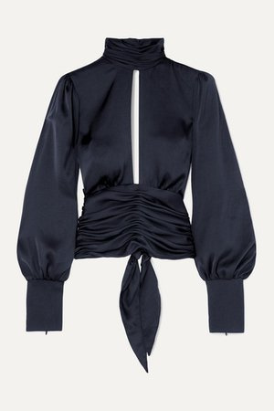 Orseund Iris   Night Out open-back ruched satin blouse   NET-A-PORTER.COM