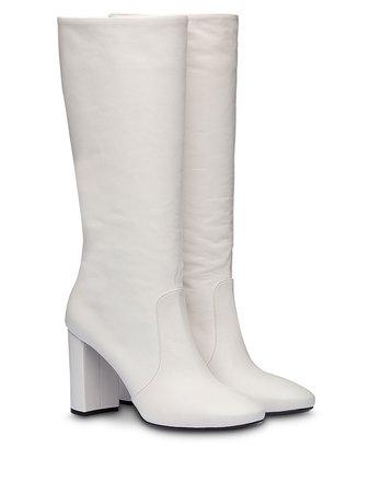 Prada Chunky Heel Boots 1W684LF085034 White | Farfetch