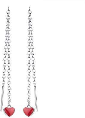 Red Love Heart Long Tassel Chain Ear Line Drop Earrings for Women Korean Temperament Jewelry: Amazon.co.uk: Jewellery