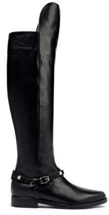 Embellished Leather Knee Boots