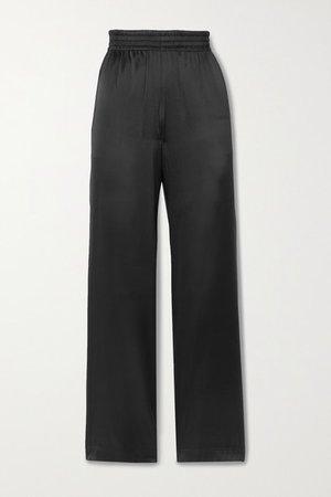 Silk-blend Satin Wide-leg Pants - Black