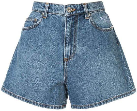 cat print denim shorts