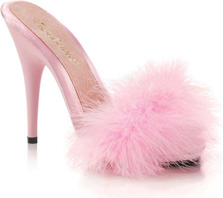 Womens Fabulicious Poise 501F Marabou Slide - Hot Pink Satin-Marabou Fur/Hot Pink - FREE Shipping & Exchanges