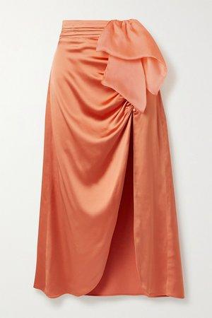 Orange The Aphra silk-trimmed draped ruched satin midi skirt | Vanessa Cocchiaro | NET-A-PORTER