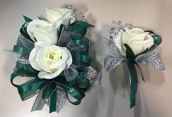 Hunter Green Prom Silk Corsage Set Artificial Flowers