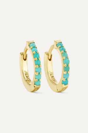 Gold Huggy 18-karat gold turquoise hoop earrings | Jennifer Meyer | NET-A-PORTER