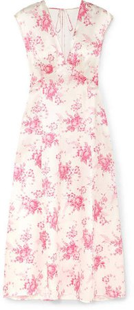Les Rêveries - Floral-print Silk-charmeuse Midi Dress - Pink