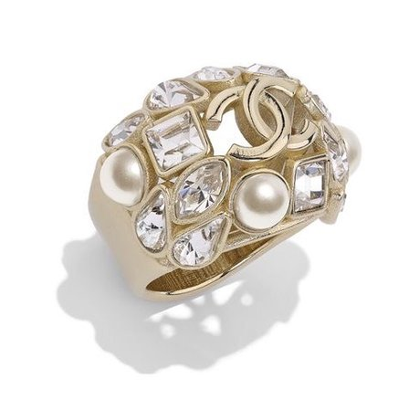 chanel metal Glass pearls&strass golden ring