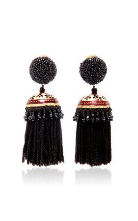 Gold-Tone Beaded Tasseled Clip Earrings by Oscar de la Renta   Moda Operandi