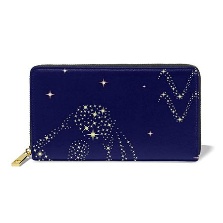 Poream Zodiac Sign Aquarius On The Starry Sky Customized Leather Zipper Printed Clutch Bag Wallet Card Large Capacity Long Purse For Women at Amazon Women's Clothing store