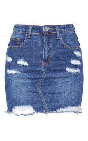 Dark Wash Distressed Rip Denim Mini Skirt | PrettyLittleThing