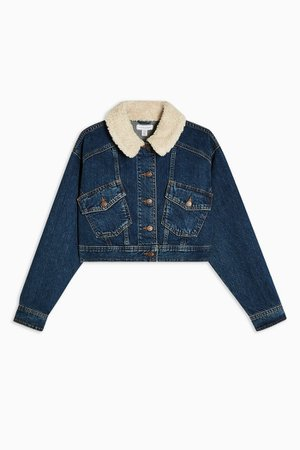 CONSIDERED Mid Wash Crop Denim Jacket With Borg Collar With Recycled Cotton | Topshop blue