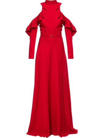 Shop red Saiid Kobeisy open-shoulder ruffled gown with Express Delivery - Farfetch