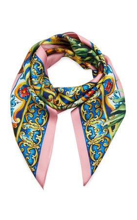 Dolce & Gabbana Fruit-Print Silk Twill Scarf