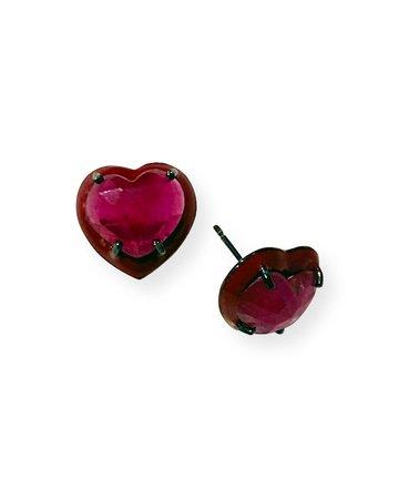 NAKARD Small Enameled Ruby Heart Stud Earrings
