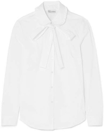 Pussy-bow Stretch Cotton-blend Poplin Shirt - White