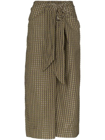 GANNI Check tie-waist Midi Skirt - Farfetch