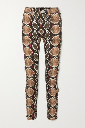 Snake-print High-rise Slim-leg Jeans - Gray green
