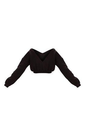 Black Crop Off Shoulder Sweater