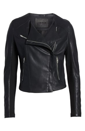 BLANKNYC Record Breaker Collarless Faux Leather Moto Jacket (Regular & Plus Size) black