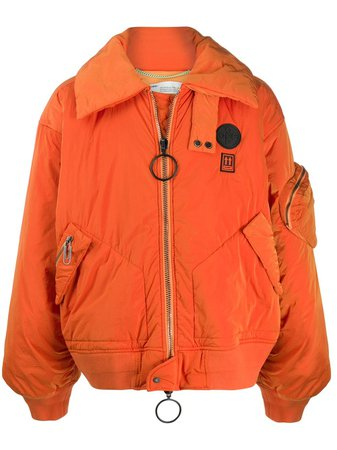 Orange Off-White Oversized Bomber Jacket | Farfetch.com