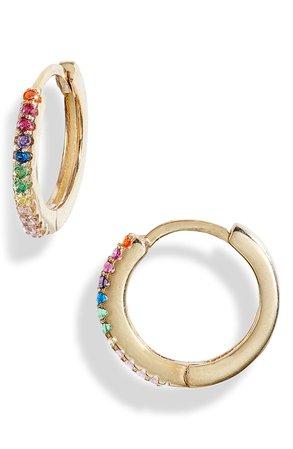 Knotty Pavé Rainbow Mini Hoop Earrings | Nordstrom