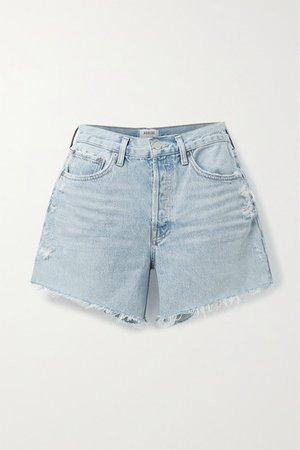 Net Sustain Parker Distressed Organic Denim Shorts - Light denim