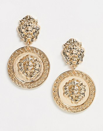 Pieces vintage look statement lion earrings in gold | ASOS