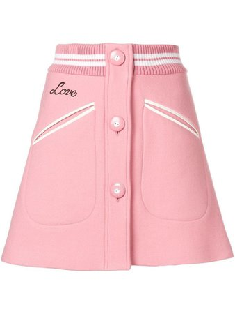 Miu Miu Trim Button Front Mini Skirt
