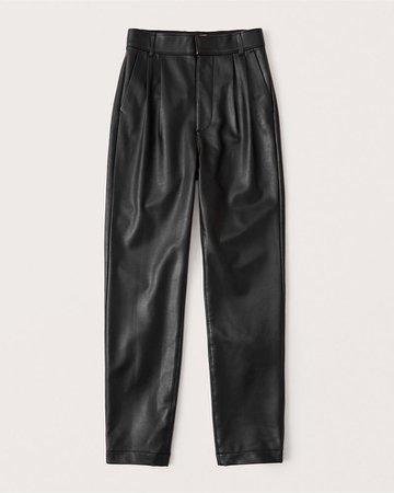 Women's Vegan Leather Pleated Taper Pants | Women's New Arrivals | Abercrombie.com
