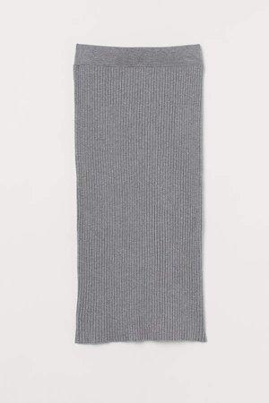 Rib-knit Cotton-blend Skirt - Gray