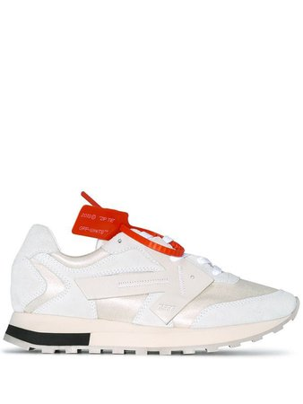 Off-White white HG Runner leather and suede low-top sneakers $429 - Shop SS19 Online - Fast Delivery, Price