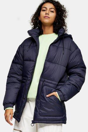 Navy Tie Padded Puffer Jacket