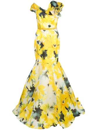 Marchesa, Watercolour Bardot Neckline Gown