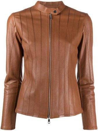 Desa 1972 Zipped Leather Jacket K9537LP Brown   Farfetch