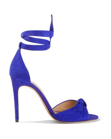Alexandre Birman Women's Clarita Knotted Suede Sandals Royal Blue