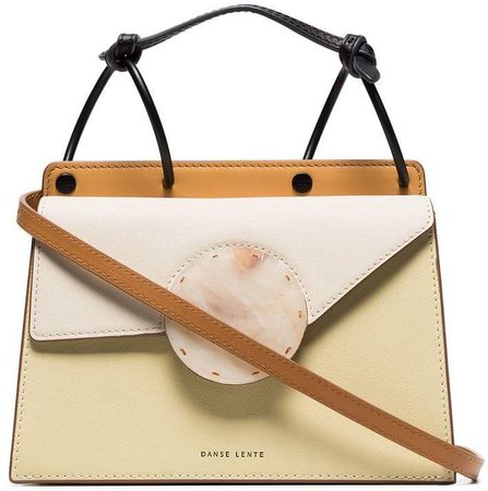 nude Phoebe marbled-button leather cross body bag