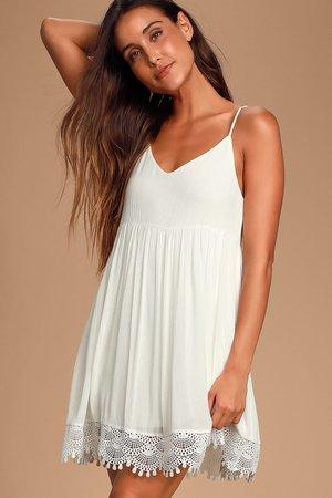 Ivory Lace Babydoll Dress - Crochet Lace Dress - Shift Dress - Lulus
