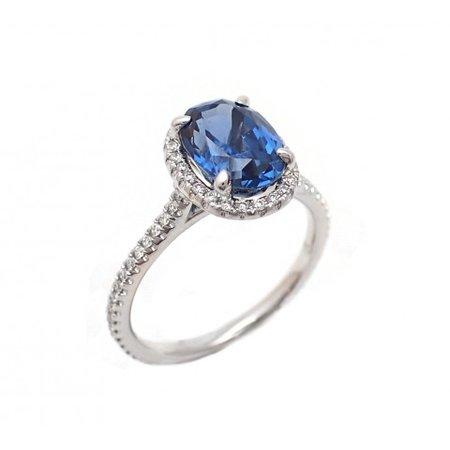 3CT Cornflower Blue Sapphire and Diamond Ring